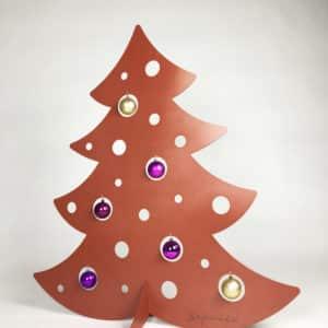 Sapin 1 m une face – Brun caramel – décoré